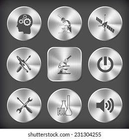 Tehnology set. Vector round and square steel buttons.