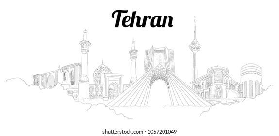 Tehran city hand drawing panoramic sketching style illustration