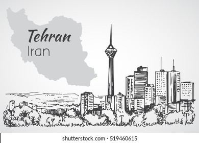 Tehran cityscape - Iran. Sketch. Isolated on white background