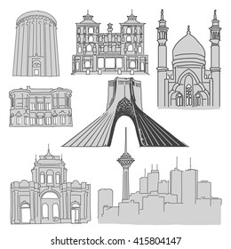 Tehran Famous Buildings, Outline Sketch, Vector Hand Drawn Artwork