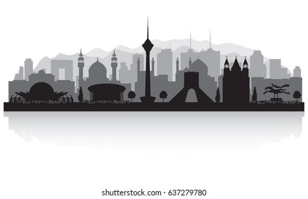 Tehran Iran city skyline vector silhouette illustration