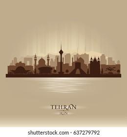 Tehran Iran city skyline vector silhouette illustration