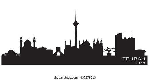 Tehran Iran skyline Detailed vector silhouette