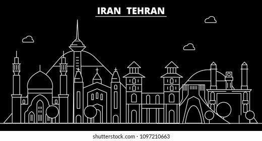 Tehran silhouette skyline. Iran - Tehran vector city, iranian linear architecture, buildings. Tehran travel illustration, outline landmarks. Iran flat icons, iranian line banner