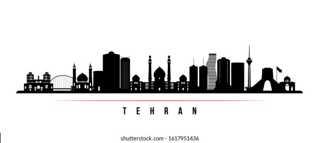 Tehran skyline horizontal banner. Black and white silhouette of Tehran, Iran. Vector template for your design.