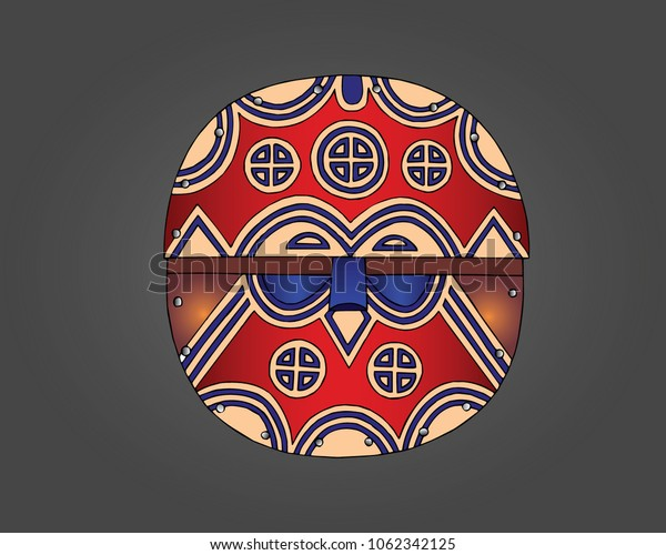 Teke Mask; Usually decorated with abstract geometric motifs, bisected by a horizontal stripe, colored with white or red earth, painted black, blue, and brown.