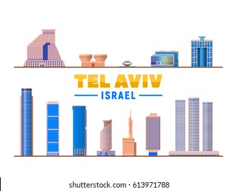 Tel Aviv ( Israel ) landmarks in white background. Vector Illustration. Business travel and tourism concept with modern buildings. Image for presentation, banner, web site.