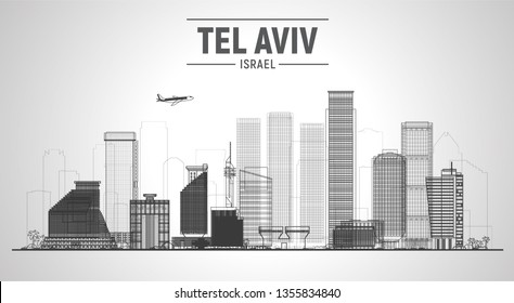 Tel Aviv Israel line city silhouette skyline on white background. Vector Illustration. Business travel and tourism concept with modern buildings. Image for presentation, banner, web site.