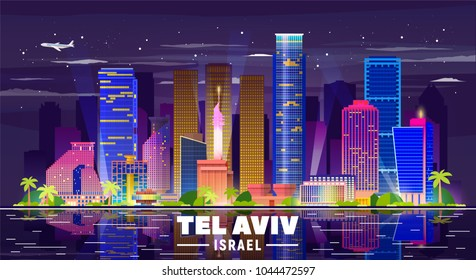 Tel Aviv Israel night skyline with panorama in sky background. Vector Illustration. Business travel and tourism concept with modern buildings. Image for presentation, banner, web site.