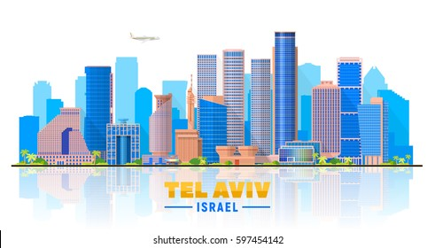 Tel Aviv Israel skyline with panorama in white background. Vector Illustration. Business travel and tourism concept with modern buildings. Image for presentation, banner, web site.