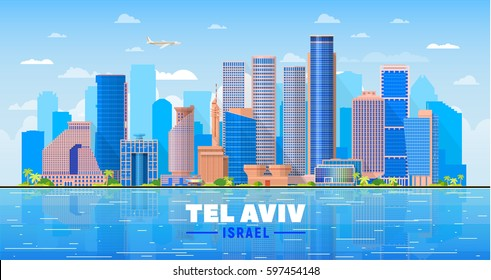 Tel Aviv Israel  skyline with panorama in blue sky background. Vector Illustration. Business travel and tourism concept with modern buildings. Image for presentation, banner, web site.