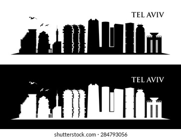 Tel Aviv, Israel skyline - vector illustration