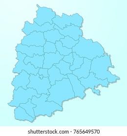 Telangana blue map on degraded background vector