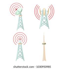 Tele communication tower icon set. Cartoon set of tele communication tower vector icons for web design isolated on white background