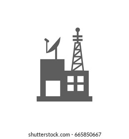 Telecommunication building icon in trendy flat style isolated on white background. Symbol for your web site design, logo, app, UI. Vector illustration, EPS