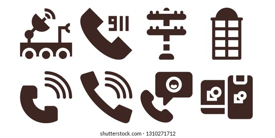 telecommunication icon set. 8 filled telecommunication icons.  Simple modern icons about  - Phone call, Satellite dish, Call, Transmission tower, Computing, Phone booth
