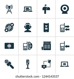 Telecommunication icons set with ip camera, newspaper, telephone and other web elements. Isolated vector illustration telecommunication icons.