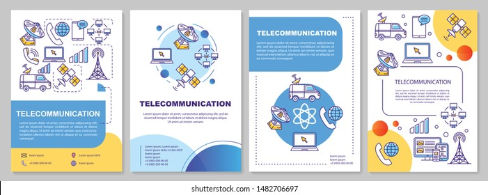 Telecommunication industry template layout. Flyer, booklet, leaflet print design with linear illustrations. Tv broadcasting. Vector page layouts for magazines, annual reports, advertising posters