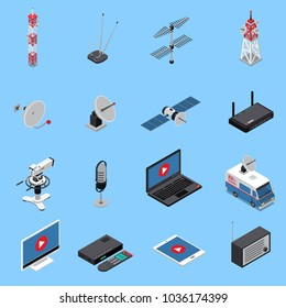 Telecommunication isometric icons set with broadcast equipment and electronic devices isolated on blue background 3d vector illustration