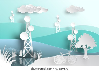 telecommunication mast television antennas in paper cut style on mountain