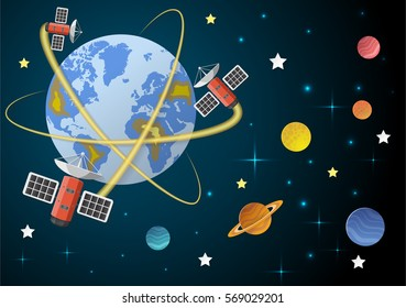Telecommunication satellite on the earth geostationary  in space