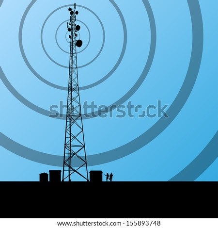 Telecommunications radio tower or mobile phone base station with engineers in concept background vector