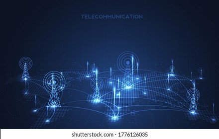 Telecommunications signal transmitter, radio tower from lines. Illustration vector design.