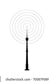 Telecommunications tower icon. Radio or mobile phone base station. Vector EPS10.