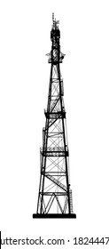 Telecommunications tower. Radio or mobile phone base station. Isolated on white background. Vector EPS10.