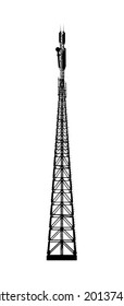 Telecommunications tower. Radio or mobile phone base station. Vector EPS10. Isolated on white background.