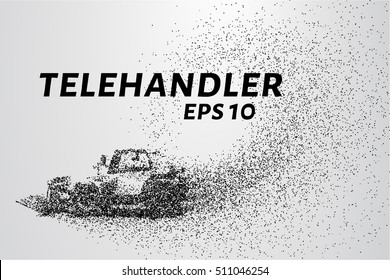 Telehandler of the particles. Telehandler crumbles into small circles and dots. Vector illustration