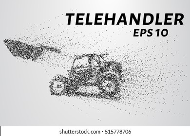Telehandler of the particles. Telescopic loader consists of circles and points.