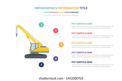 telehandlers infographic template concept with five points list and various color with clean modern white background - vector