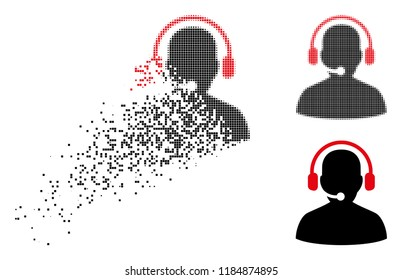 Telemarketing icon in fragmented, pixelated halftone and undamaged versions. Particles are composed into vector disappearing telemarketing icon. Disappearing effect involves square dots.