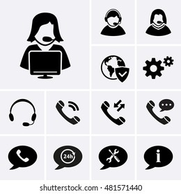 Telemarketing Icons. Hotline Support Service and Consultation Icons. Vector set