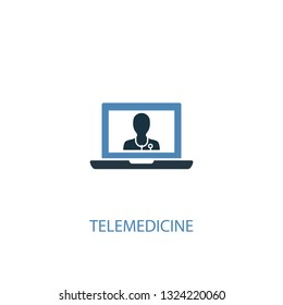 telemedicine concept 2 colored icon. Simple blue element illustration. telemedicine concept symbol design. Can be used for web and mobile UI/UX