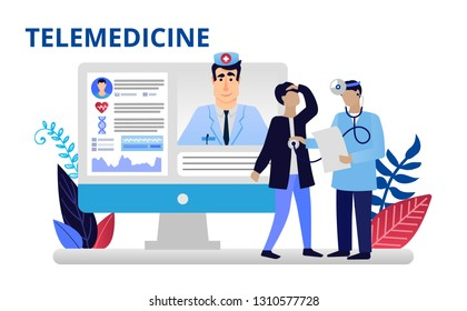 Telemedicine concept in flat style. Doctors doing medical research. Online medicine concept. Vector illustration for web banners, brochure cover design and flyer layout template