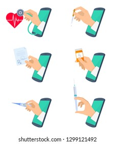 Telemedicine concept illustration set. Doctor's hand from phone screen is checking pulse with stethoscope, holding a pill bottle, rx prescription. Vector flat vector isolated on white background.