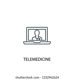 telemedicine concept line icon. Simple element illustration. telemedicine concept outline symbol design. Can be used for web and mobile UI/UX