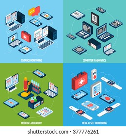 Telemedicine design concept set with isometric health monitoring icons isolated vector illustration