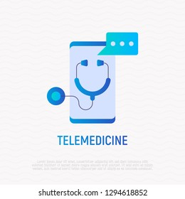 Telemedicine gradient flat icon: stethoscope with speech bubble on screen of smartphone. Modern vector illustration, logo for online medical consultant.
