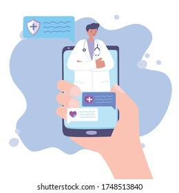 telemedicine, hand with smartphone doctor online support vector illustration