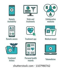 Telemedicine and Health Records Icon Set w Caduceus, file folders, computers, etc