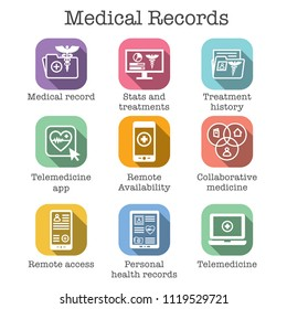 Telemedicine and Health Records Icon Set w Caduceus, file folders, computers, etc