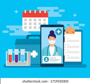 telemedicine technology with doctor female in smartphone and medical icons vector illustration design