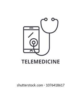 telemedicine thin line icon, sign, symbol, illustation, linear concept, vector