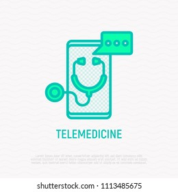 Telemedicine thin line icon: stethoscope with speech bubble on screen of smartphone. Modern vector illustration of online medical consultant.