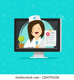 Telemedicine vector illustration, flat cartoon doctor character consulting online via computer, woman medic give distance medication, physician diagnosis internet on-line, electronic treatment clipart