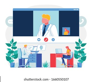 Telemedicine Videocall Technology Flat Illustration. Patient Calling Doctor Cartoon Character. Physician Discussing Client Health Online. Remote Medical Examination. Telehealth Checkup System