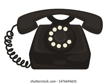Telephone, 40s retro device or old electric appliance isolated object vector. Vintage phone with rotating disc or dial and receiver on wire, communication item. 1940s symbol, technological progress